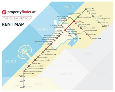 Average Rent Prices by The Dubai Metro Rent Map The Cost Of Renting A 1br By