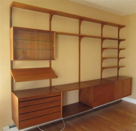 mid century modern danish teak modular wall unit after