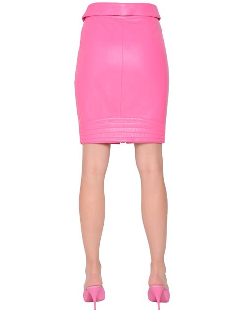 moschino leather pencil skirt in pink lyst
