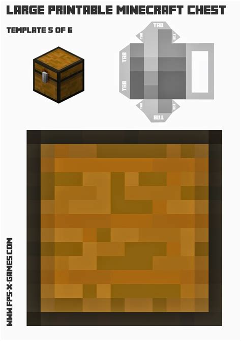 Minecraft Papercraft Chest - print and create your own minecraft chest template 5 of 6
