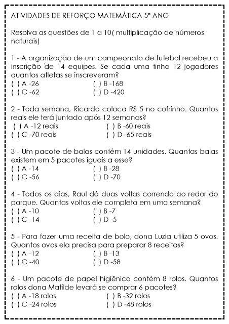 Atividades de Matemática para 5º Ano - Reforço — SÓ ESCOLA