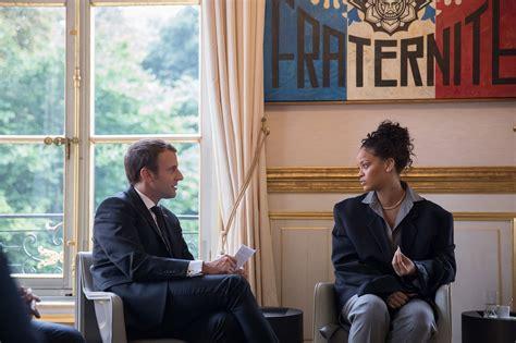 emmanuel macron rihanna rihanna meets with french president emmanuel macron in a