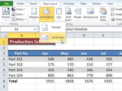 change layout to landscape excel how to insert different page orientations in excel 2013