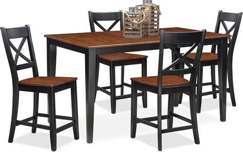 Black Counter Height Dining Table And Chairs Nantucket Counter Height Table And 4 Side Chairs Black And Cherry American Signature Furniture