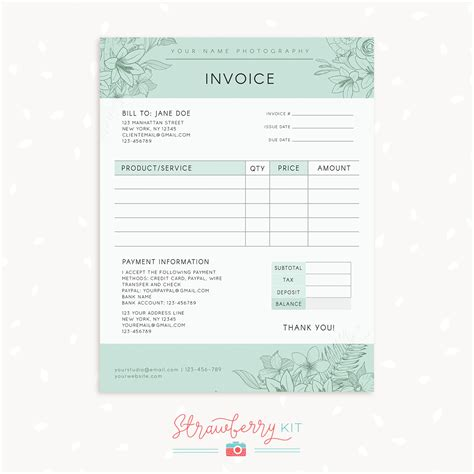 photography receipt template free floral photography invoice template strawberry kit