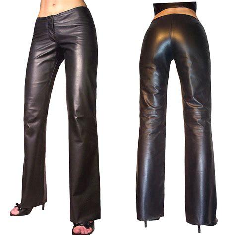 Womens Hipster Bootleg Lightweight Leather Trouser