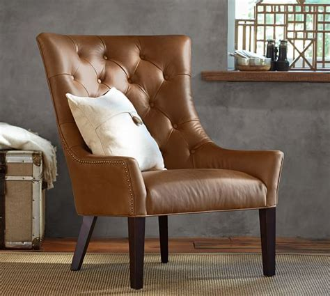 pottery barn leather armchair hayes tufted leather armchair pottery barn