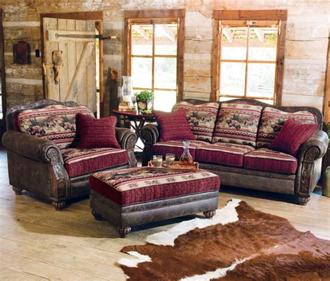 cabin living room furniture rustic retreat decorating taos bear sofa collection