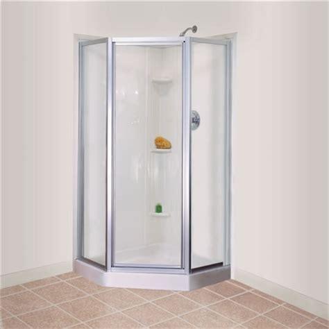 mustee durabase neo angle corner threshold fiberglass shower floor