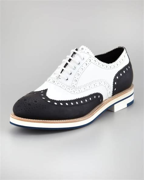 white wingtip oxford shoes giorgio armani twotone wingtip oxford in white black