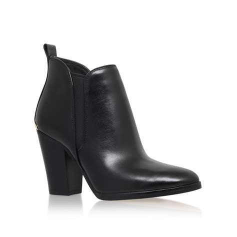 michael kors block heel ankle boots in black lyst