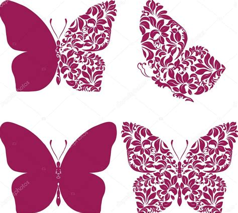 Butterfly Set butterfly set with patterned wing stock vector