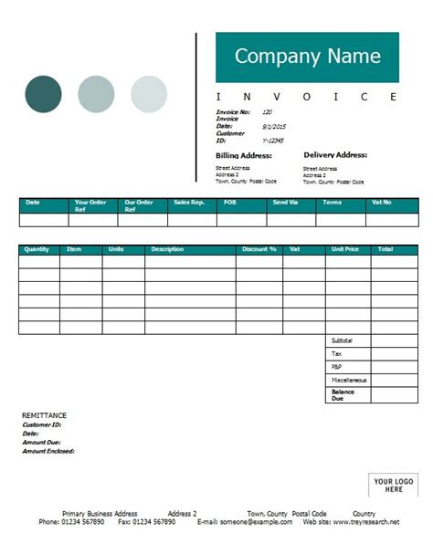 sales invoice template printable word excel invoice