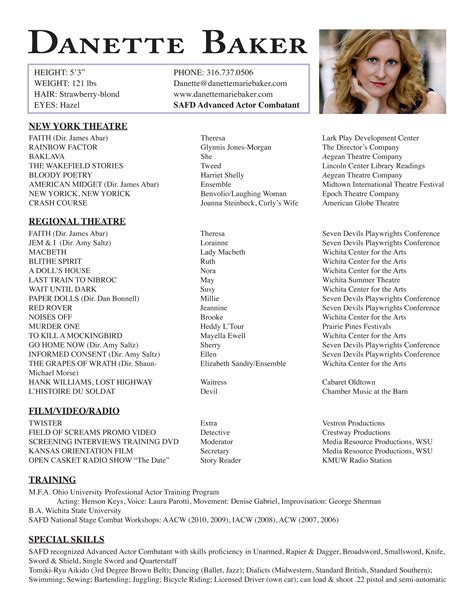 resume for acting actor resume best template collection