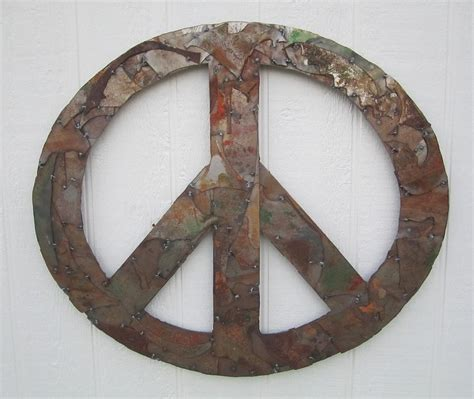 metal peace sign wall decor peace sign from pieces recylced metal wall sculpture