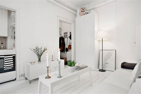 white apartment 20 sqm apartment in stockholm with scandinavian design