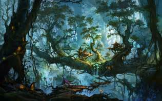 River Road Treehouses - enchanted village on the forest trees wallpaper 1024031