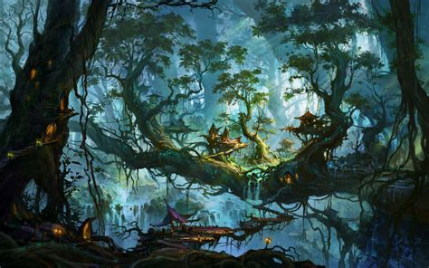 real treehouse enchanted village on the forest trees wallpaper 1024031