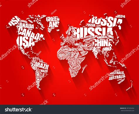 typography word cloud world map typography word cloud concept stock illustration