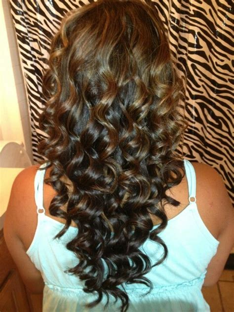 brown curly hair with highlights curled my sister s hair dark brown with caramel
