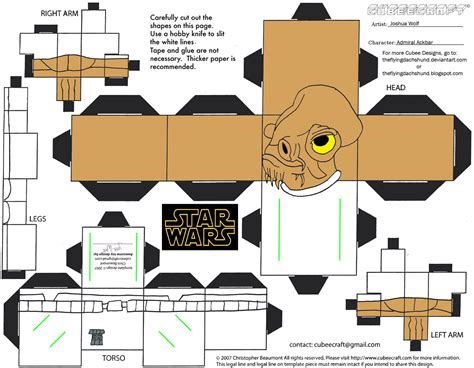 Design Papercraft - sw7 admiral ackbar cubee by theflyingdachshund on deviantart
