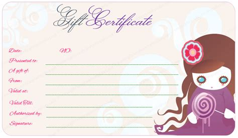 Purple Gift Certificate Template for Girls