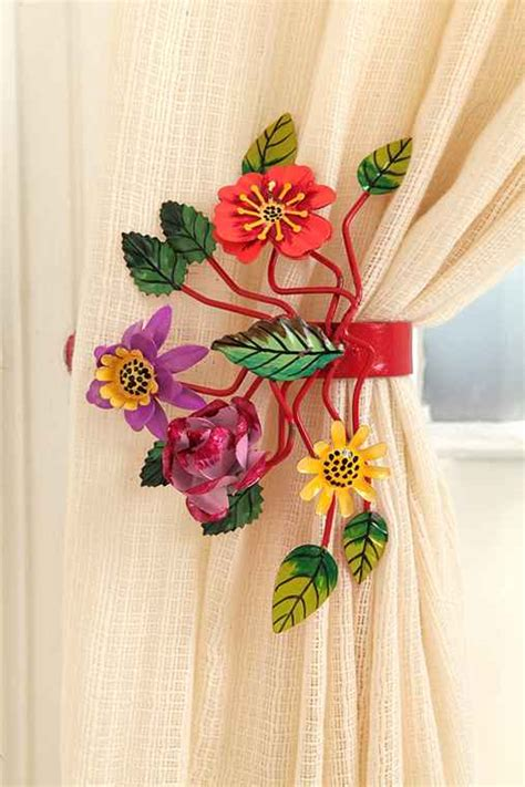 flower tie backs for curtains bright botanical curtain tie back urban outfitters