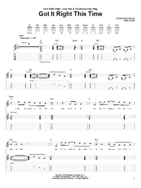 keith urban songs guitar chords got it right this time by keith urban guitar tab