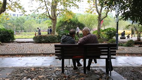 old people on a bench retired couple sitting on a bench in a park stock footage