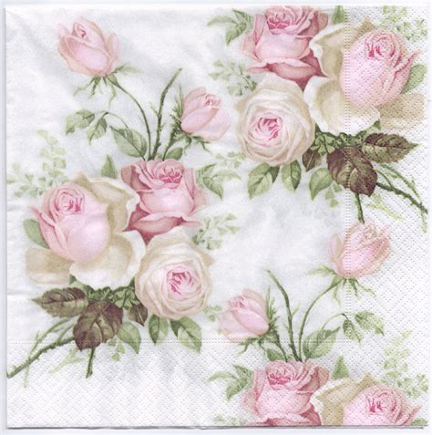 Decoupage Roses - decoupage napkins pastel bouquet design dinner