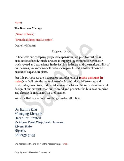 Personal Loan Request Letter To Manager Business Loan Application Letter Sle Free Printable Documents