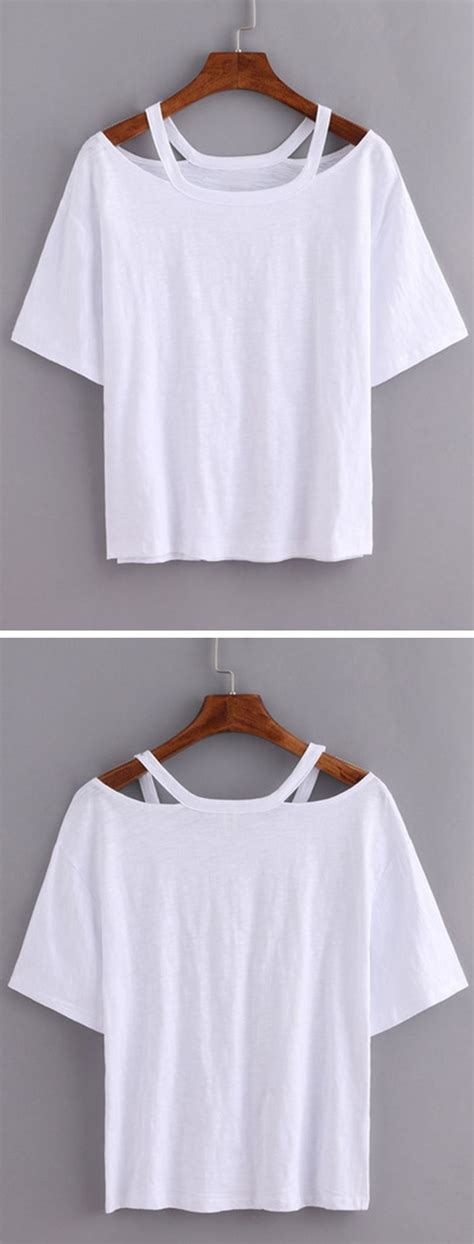 design a shirt diy cutout loose fit white t shirt with