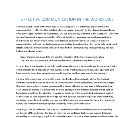 Effective Communication Essay by Effective Communication In The Workplace A Level Ict Marked By Teachers