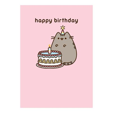 Sle Happy Birthday Wishes Pusheen Pink Happy Birthday Greeting Card Gift App Cat