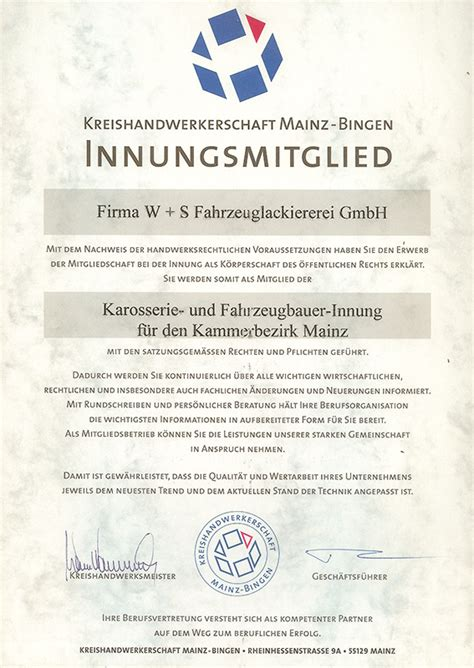 Kfz Lackierer Mainz by Zertifikate