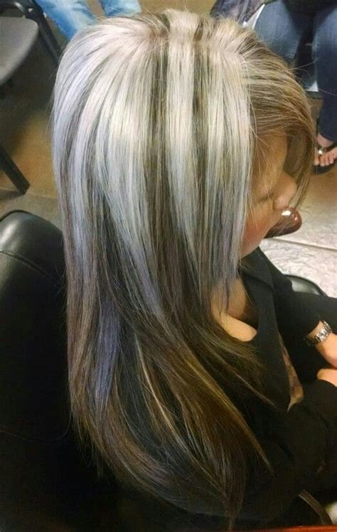 chunky blonde highlights for grey hair platinum silver thick highlights platinum brown hair