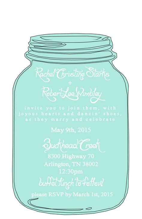 Mason Jar Templates For Invitations | mason jar free printable wedding invitations templates