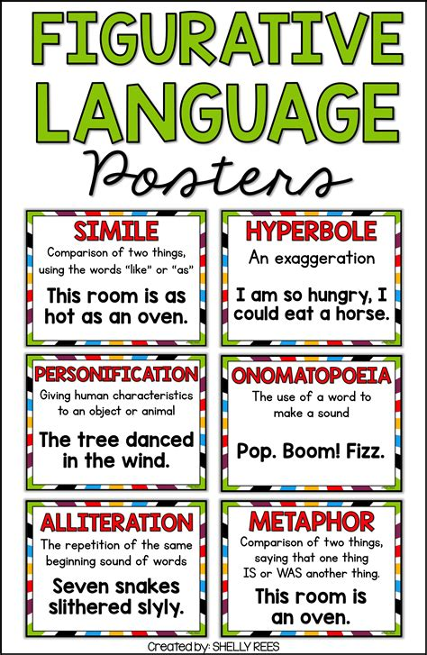 printable personification poster figurative language simile metaphor alliteration