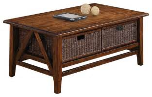 Coffee Table With Baskets Riverside Furniture Claremont Rectangular Cocktail Table With 2 Baskets In Toffe Tropical