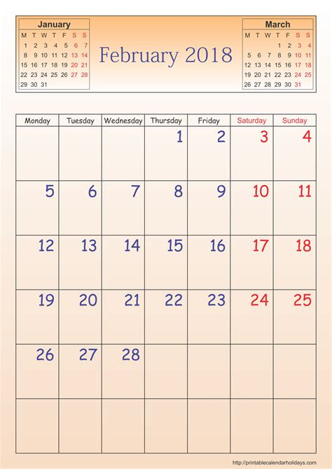 february 2018 calendar template portrait printable