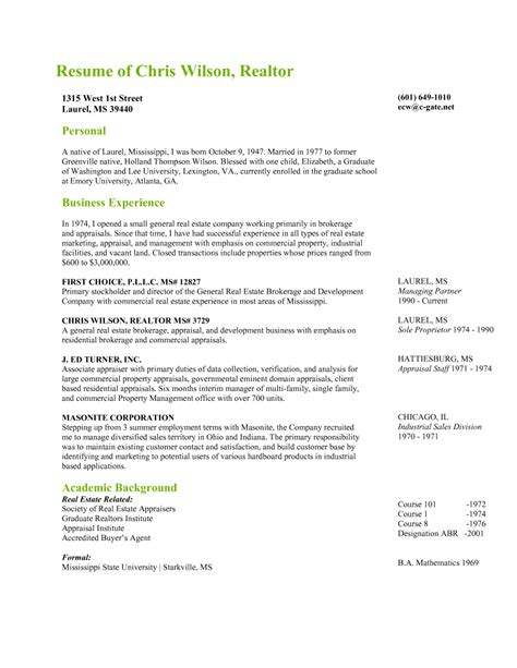 Real Estate Broker Resume Sample by Chris Wilson Realtor First Choice Pllc Laurel