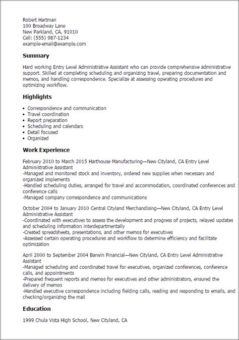 Sle Resume For Entry Level Office Assistant Resume For Entry Level Office 28 Images Best