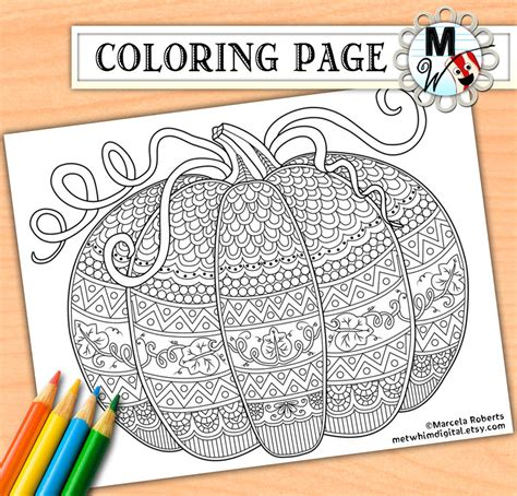 zentangle pumpkin coloring page printable fall coloring pumpkin coloring page for adults fall adult coloring page