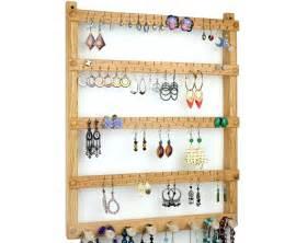 Oak wood wall mount earring holder with necklace bracelet