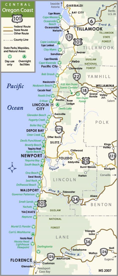 map of oregon 101 oregon aaroads u s 101 south tillamook to newport