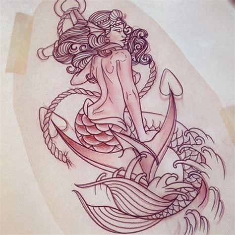 new school mermaid tattoo classic uncolored mermaid sitting on anchor tattoo design