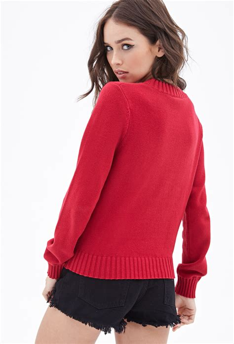 Sweater C For Cool Merah 1 forever 21 joe cool crew neck sweater in lyst
