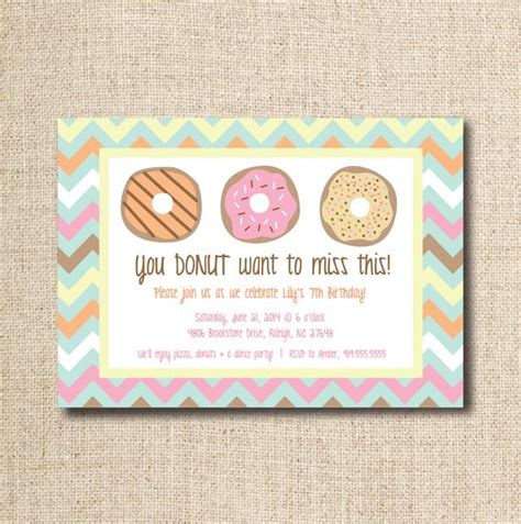 Donut Doughnut Party Invitation Custom Printable File Donut Invitation Template