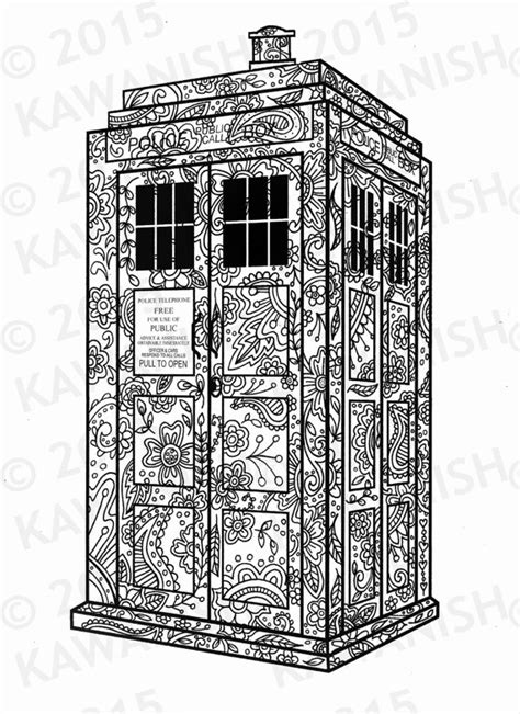 tardis dr who adult coloring page