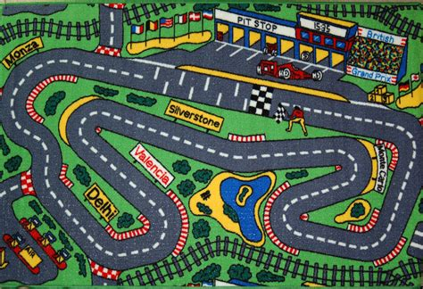 Kids Pitstop Racing Track Cars Play Mat 100x150 Road Map Car Rug For